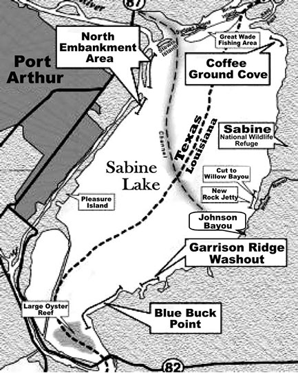 Map for Sabine pass fishing report